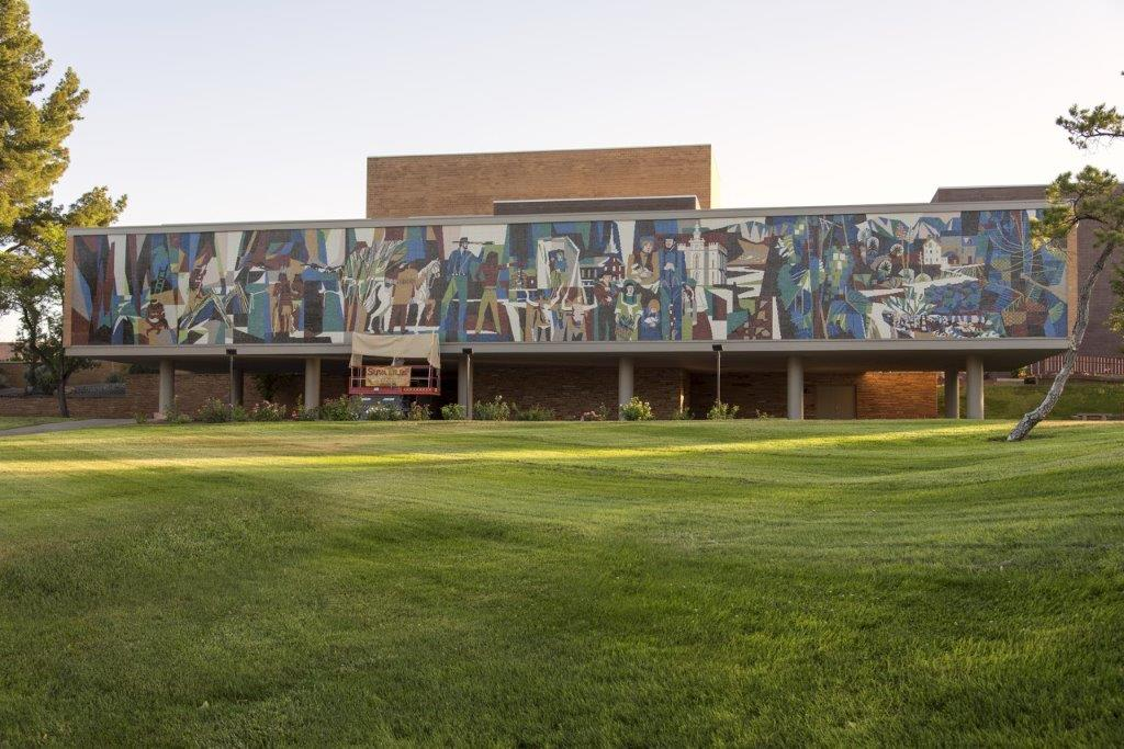 The beautiful campus grounds are a nice place to view the mural from
