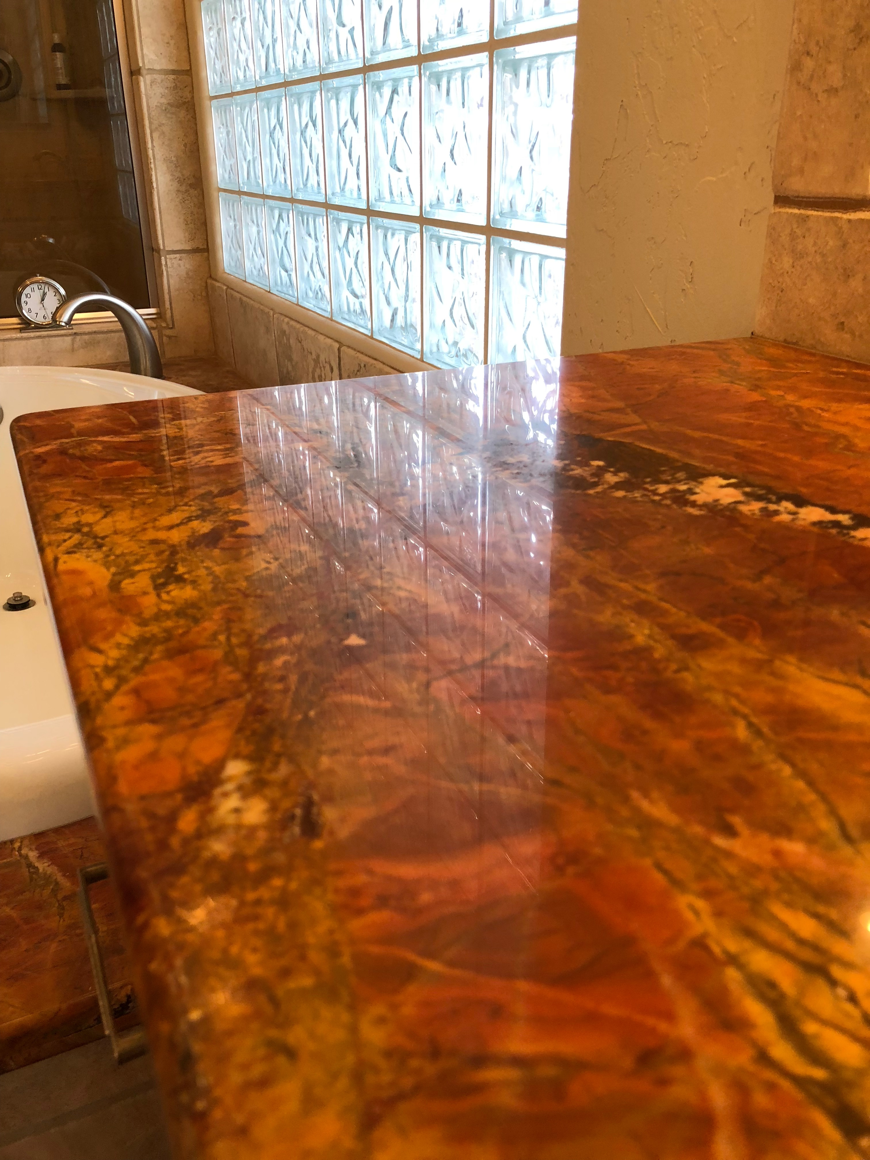 After grinding and polishing, the marble surface looks like new once again.