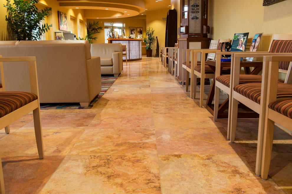 Polished travertine flooring