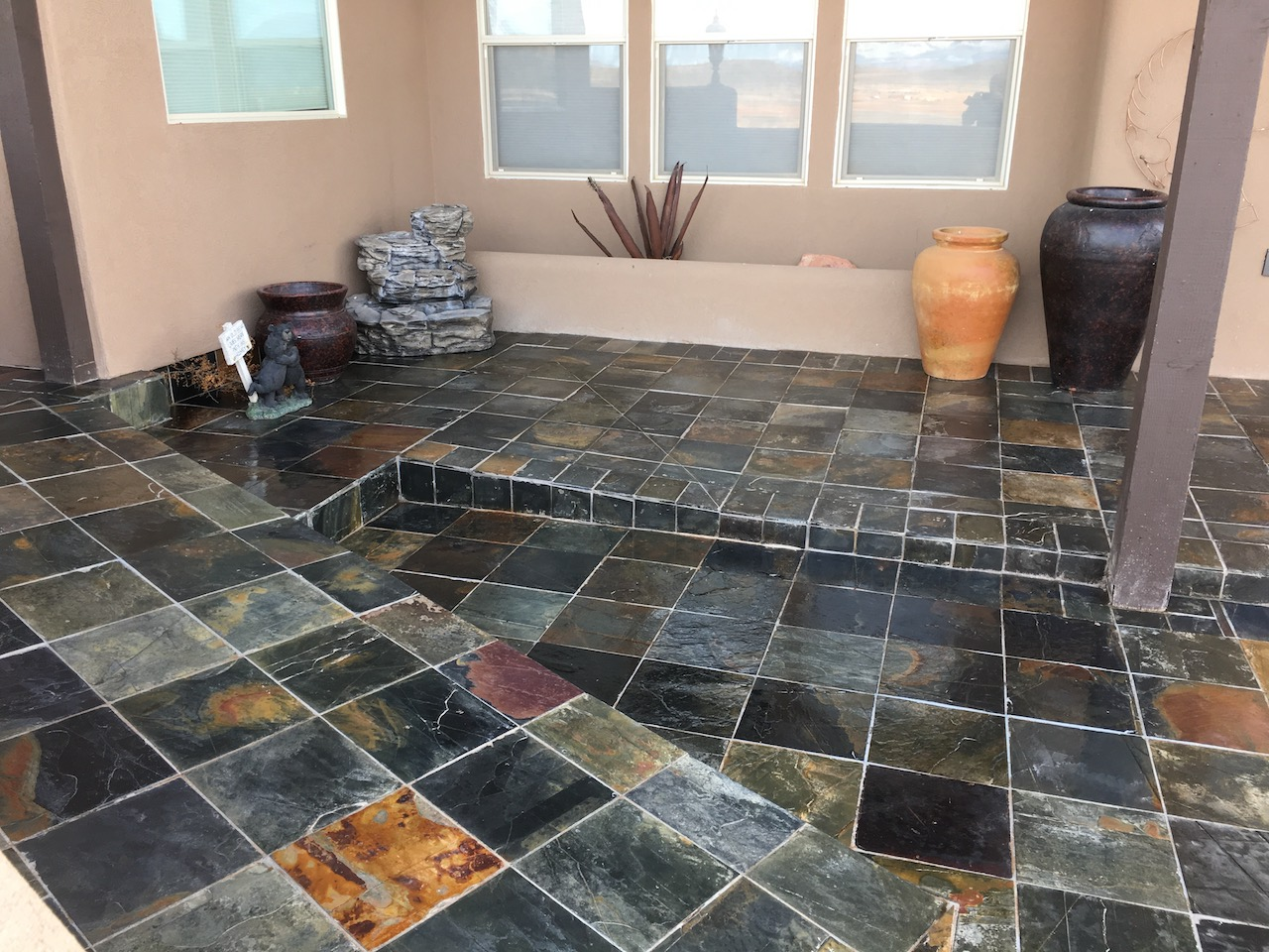 After picture of multi-colored slate patio